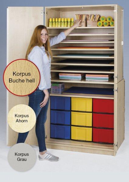 Material-Hochschrank M geteilt, Extratiefe, 9 Fachböden, 9 Boxen XL
