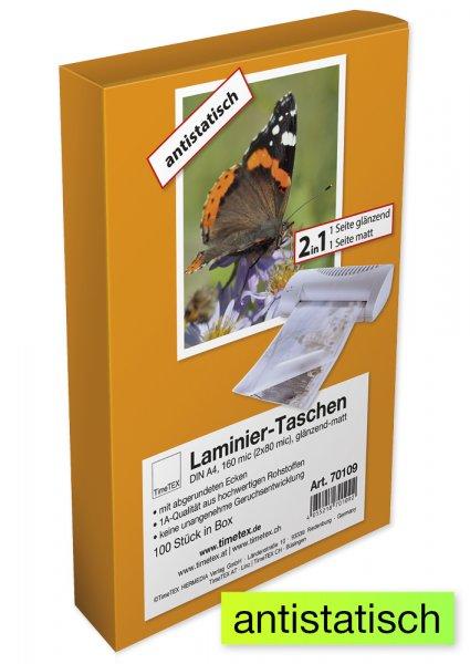 Laminier-Taschen 2in1 A4 2x80 mic glänzend-matt, 100 Stück