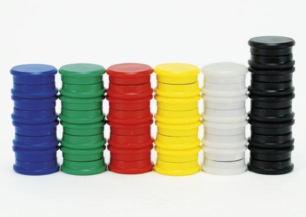 Set Haft-Magnete farbsortiert, 24 mm ø, 50-tlg.