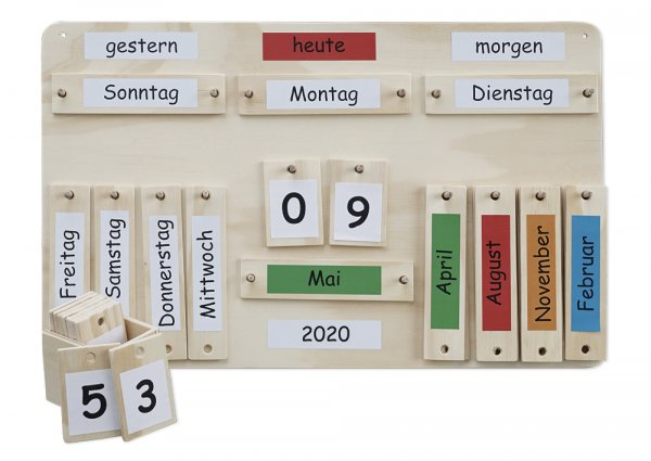 Jahreskalender aus Holz, ca. 38 x 60 cm