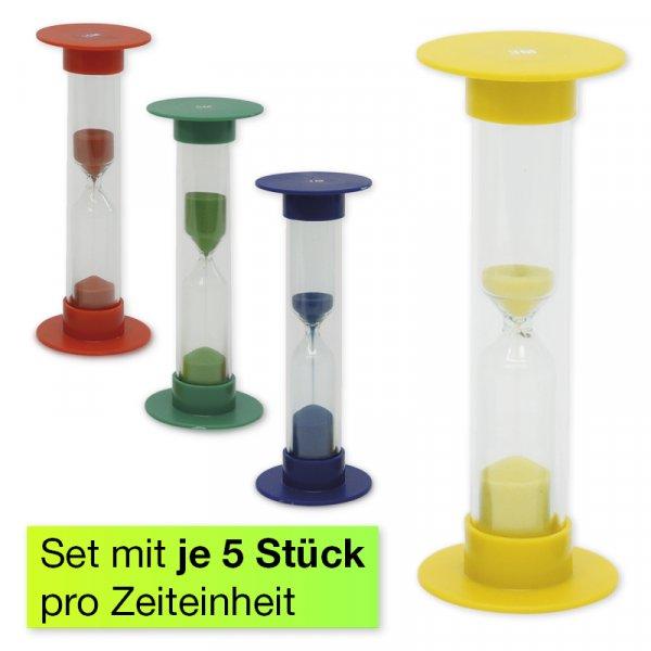Sanduhren-Set 5-tlg., 10cm hoch, 2,5cm ø (1 Zeiteinheit)