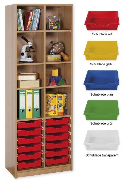 Material-Hochschrank-Regal S, Basistiefe, 8 Fachböden, 12 Schubladen L
