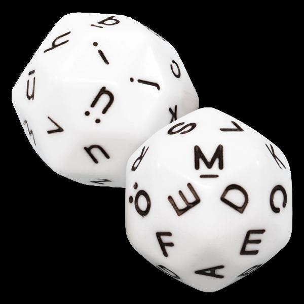 Set Buchstaben-Würfel 2-tlg., 32 mm ø