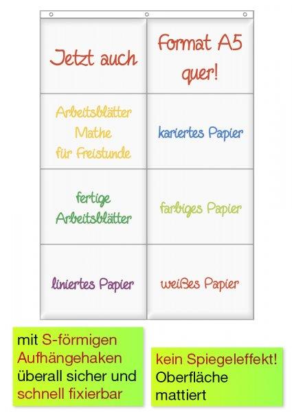 Hänge-Orga-Taschen A5, 8 Einstecktaschen Querformat, mit Haken