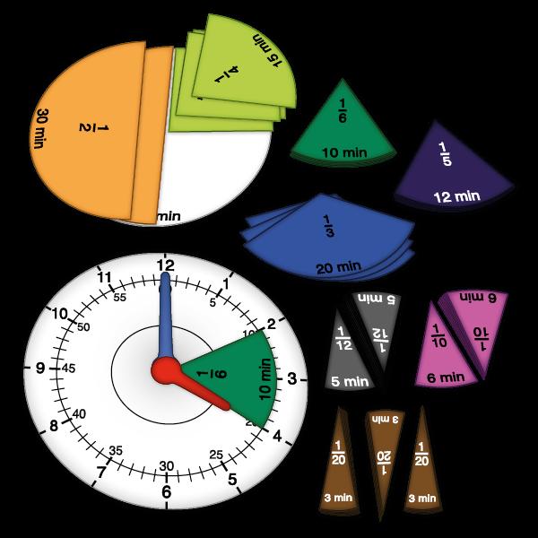 Zeit- und Bruchrechen-Uhr magnetisch, 67-tlg.