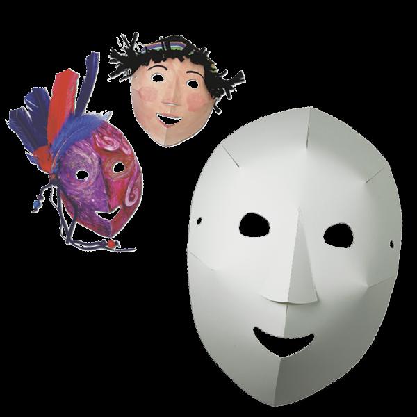 Dreidimensionale Masken zum Selbstgestalten, 40 Stück