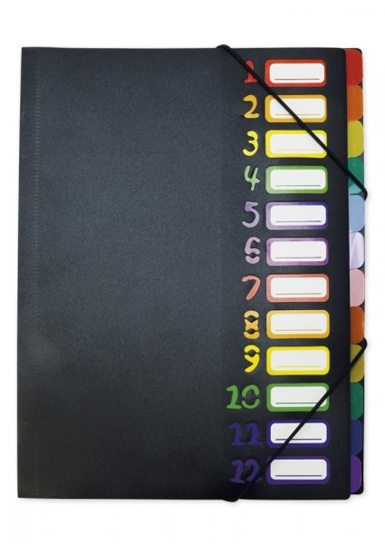 TimeTEX Tisch-Fächermappe 1-12 A4, farbig mit Verschlussgummi