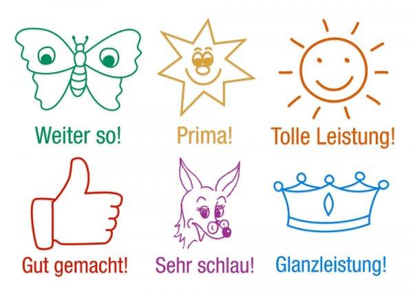 """Lehrer-Stempel aus Holz """"Ansporn"""", 6-tlg."""