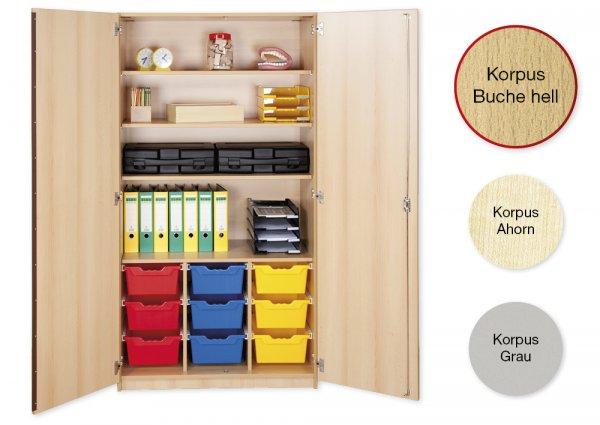 Material-Hochschrank L, Plustiefe, 4 Fachböden, 9 Schubladen XL