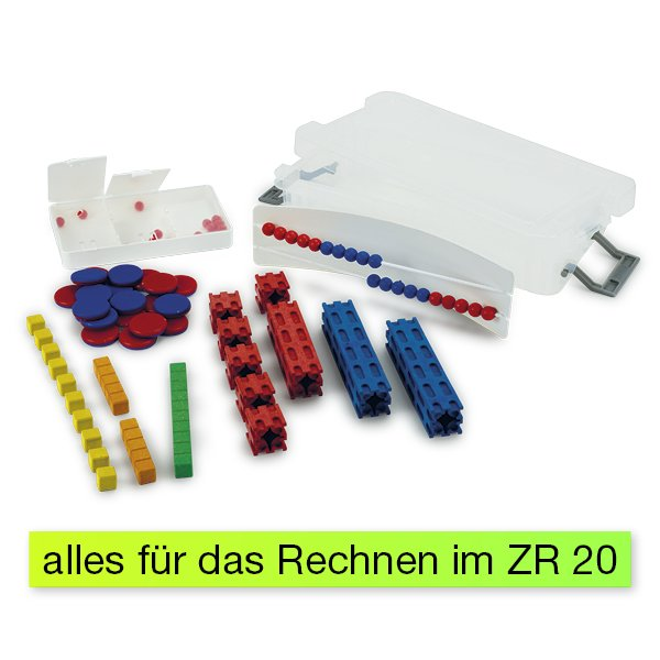 Mathe-Basis-Set Plus ZR 20, 58-tlg, in Box, rot/blau