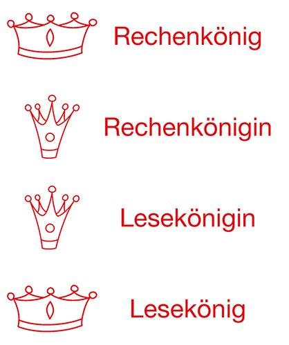 """Siebdruck-Stempel """"Perpetuum"""", 4 in 1, """"Rechen-/Lese-König/in"""""""