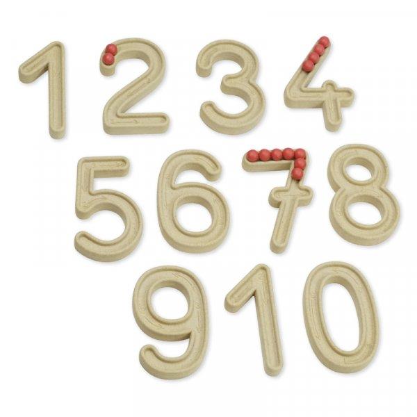 Ziffernsatz 1-10, 7 cm, mit Nut und Kugeln
