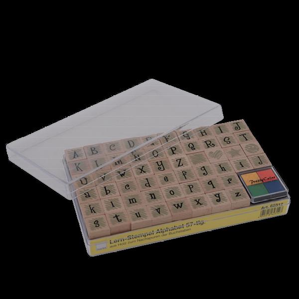 Set Lern-Alphabet-Stempel aus Holz, 57-tlg, in Box
