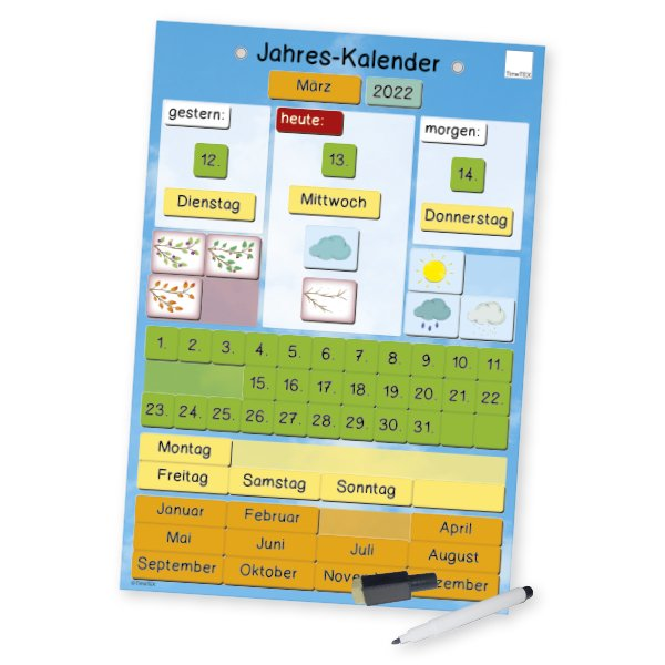 TimeTEX Jahres-Kalender magnetisch, ca. 28 x 41 cm